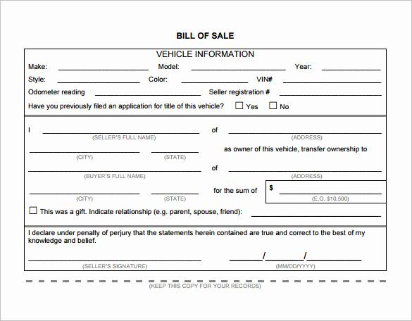 Vehicle Bill Of Sale Example Luxury Bill Of Sale Template 44 Free Word Excel Pdf