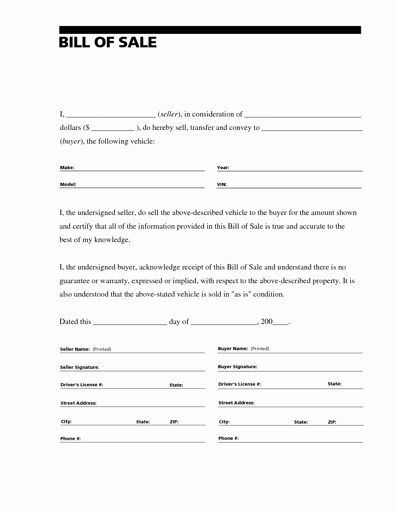 Vehicle Bill Of Sale Example Unique Printable Sample Free Car Bill Of Sale Template form