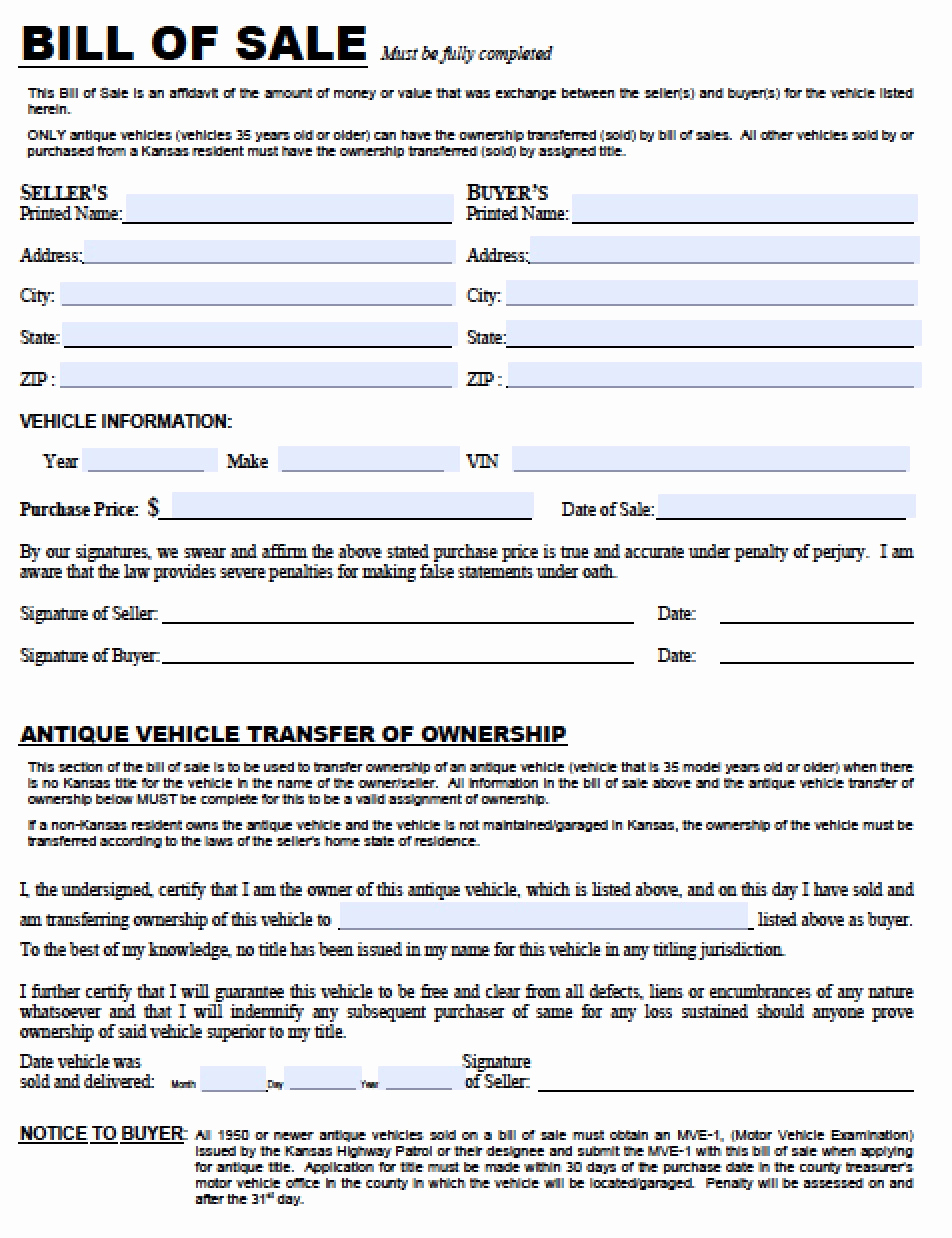 Vehicle Bill Of Sale form Best Of Free Kansas Dmv Vehicle Bill Of Sale Tr 12 form