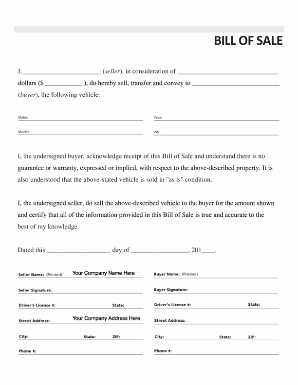 Vehicle Bill Of Sale form Inspirational Free Printable Car Bill Of Sale form Generic