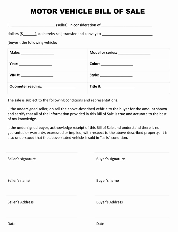 Vehicle Bill Of Sale form Inspirational Motor Vehicle Bill Sale form