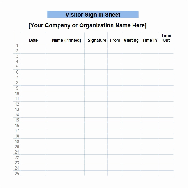 Visitor Sign In Sheet Lovely Sign In Sheet Template 21 Download Free Documents In