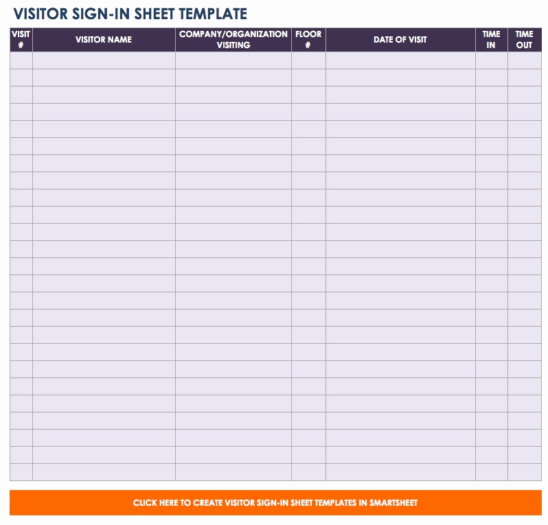 Visitor Sign In Sheet New Free Sign In and Sign Up Sheet Templates
