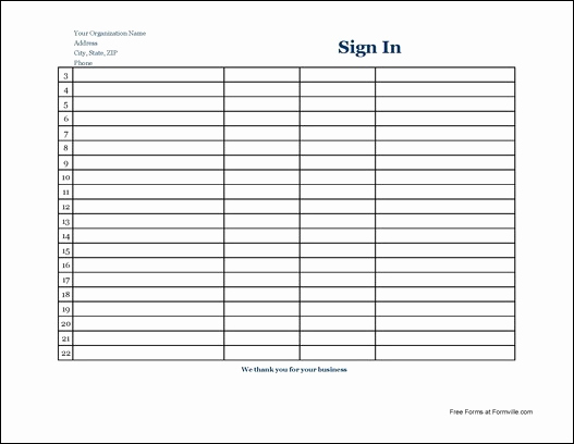 Visitor Sign In Sheet Unique 7 Free Sign In Sheet Templates Word Excel Pdf formats