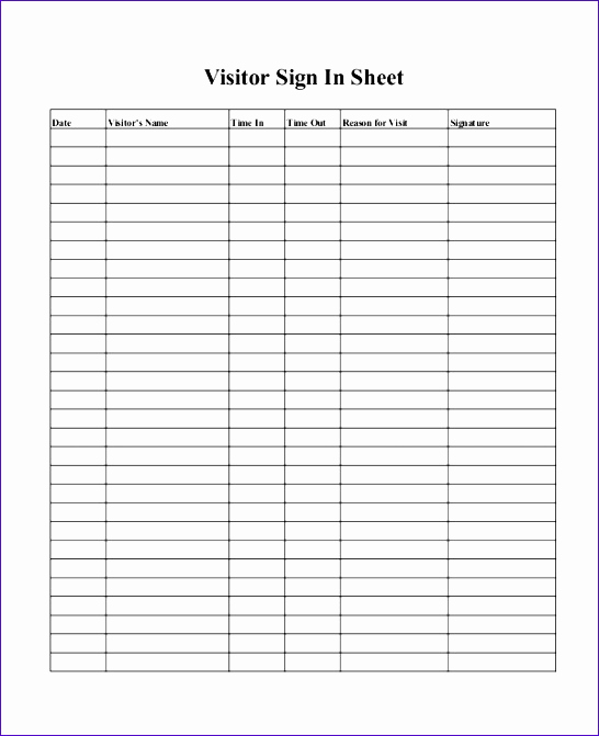 Visitor Sign In Sheets Awesome 10 Visitor Log Template Excel Exceltemplates