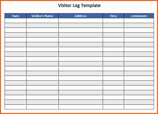 Visitor Sign In Sheets Fresh Visitor Log Template