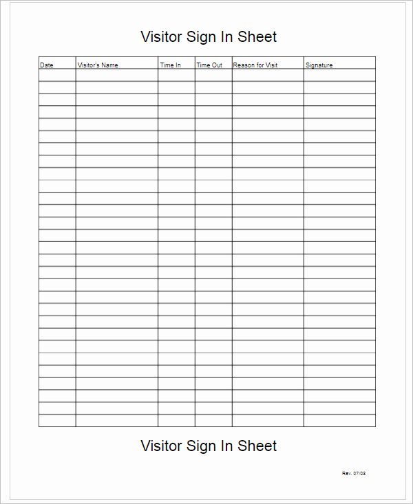 Visitors Sign In Sheet Inspirational 67 Sign In Sheet Templates Free Pdf Excel Documents