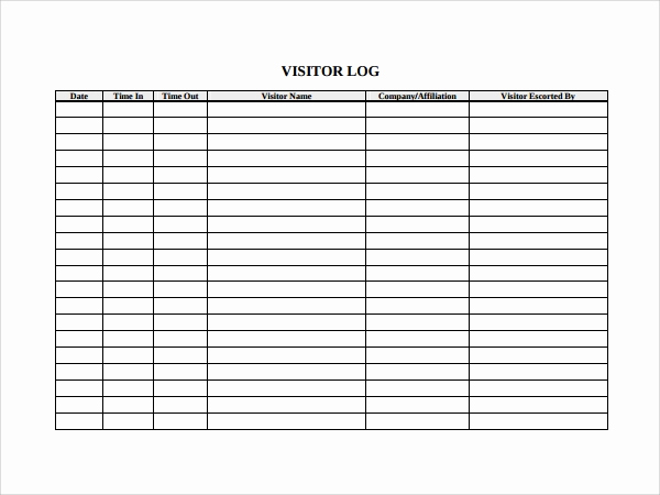 Visitors Sign In Sheet New 9 Visitors Log Templates Pdf Word