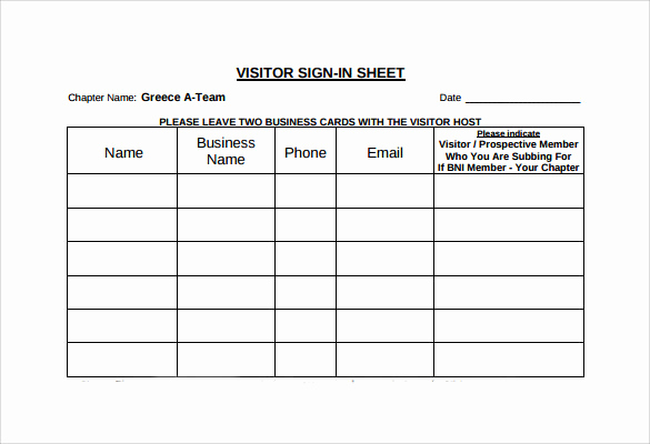 Visitors Signing In Sheet Fresh Sample Visitor Sign In Sheet 10 Documents In Word Pdf