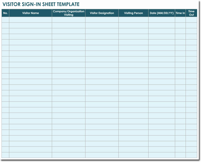 Visitors Signing In Sheet Luxury 20 Sign In Sheet Templates for Visitors Employees Class