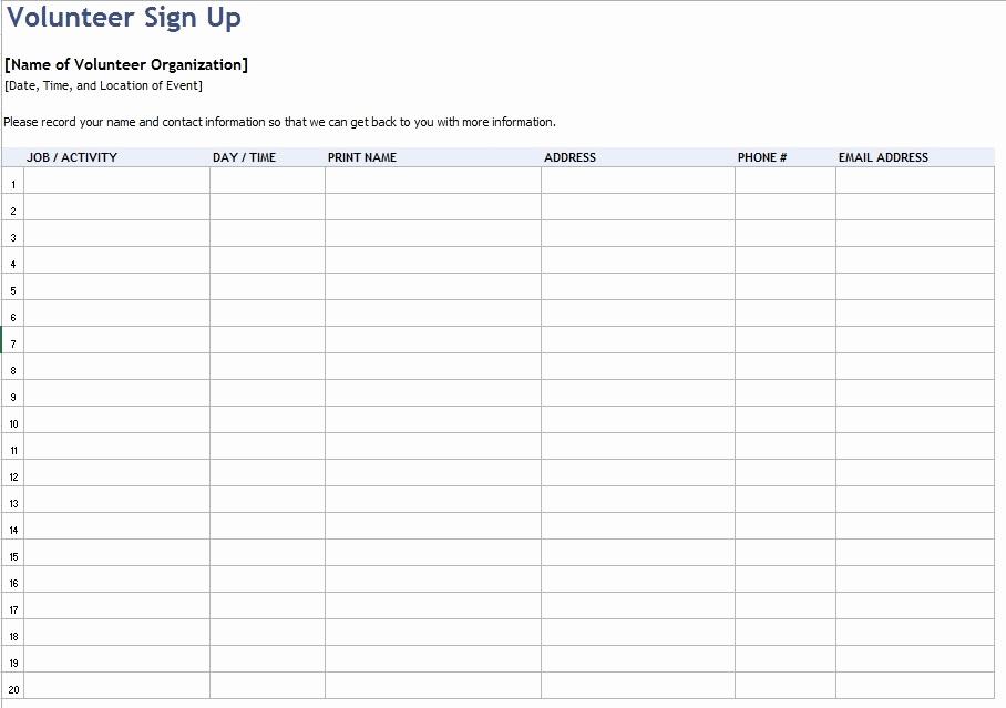 Volunteer Sign Up Sheet Awesome 9 Free Sample Volunteer Sign Up Sheet Templates