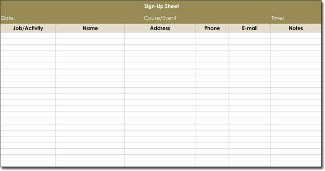 Volunteer Sign Up Sheet Awesome Signup Sheet Templates 40 Sheets