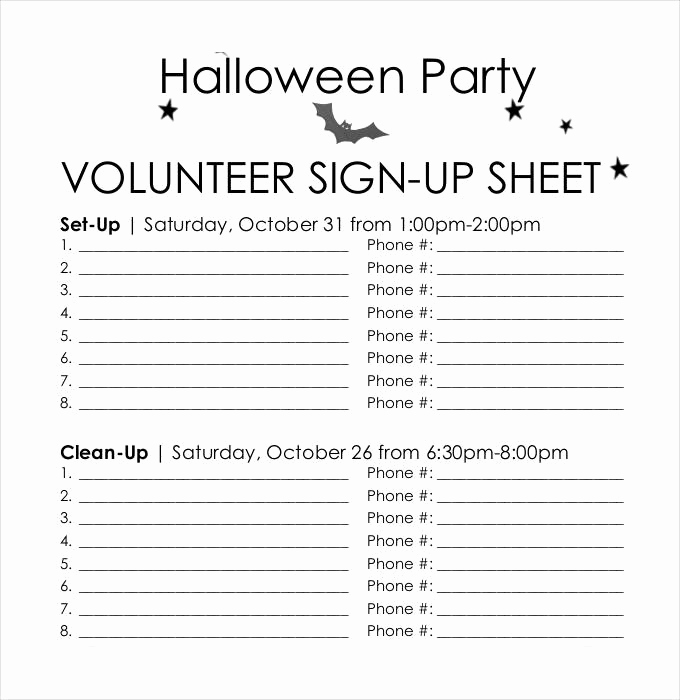 Volunteer Sign Up Sheet Beautiful Sign Up Sheets 58 Free Word Excel Pdf Documents