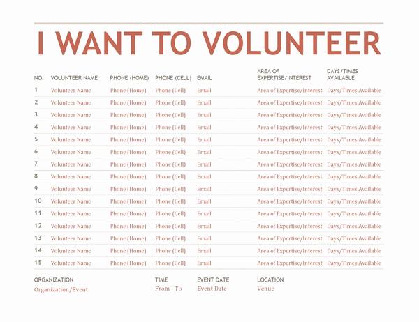 Volunteer Sign Up Sheet Beautiful Volunteer Sign Up Sheet