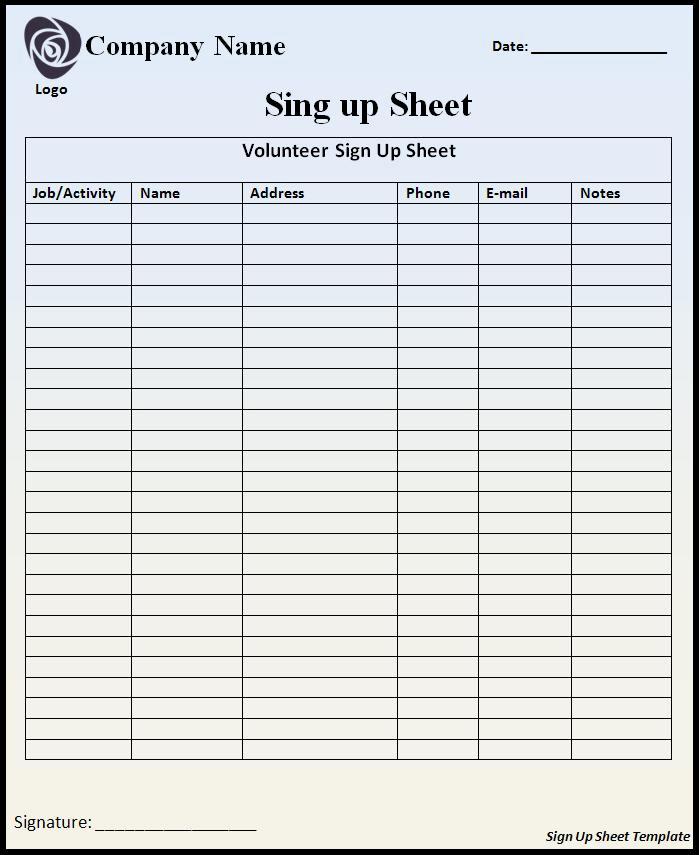Volunteer Sign Up Sheet Best Of Volunteer Sign Up Sheet Template Free