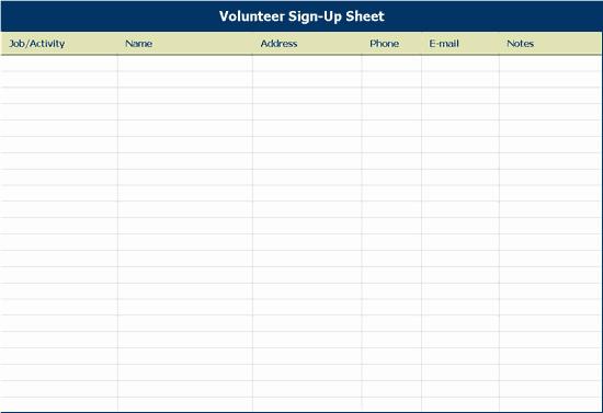 Volunteer Sign Up Sheet Elegant Volunteer Sign Up Sheet