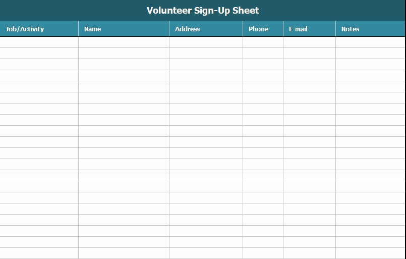 Volunteer Sign Up Sheet Inspirational Free Sign Up Sheet Template Excel and Word Excel Tmp
