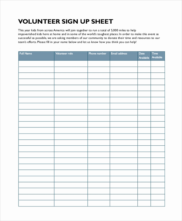 Volunteer Sign Up Sheet Luxury Sample Sign In Sheet 9 Examples In Pdf Word