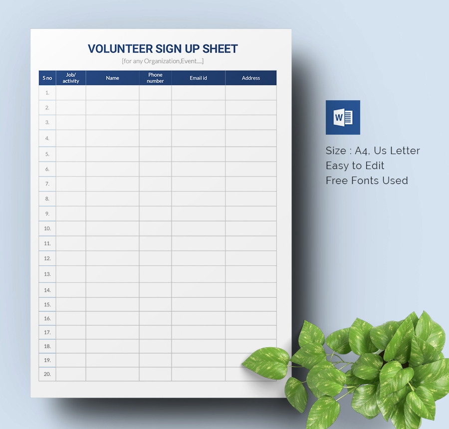 Volunteer Sign Up Sheet New Sign Up Sheets 64 Free Word Excel Pdf Documents