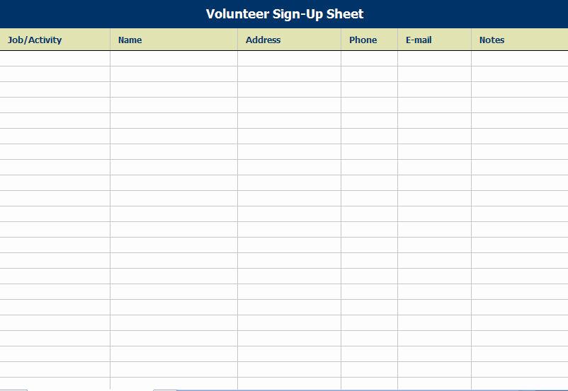 Volunteer Sign Up Sheet New Volunteer attendance Sign In Sheet