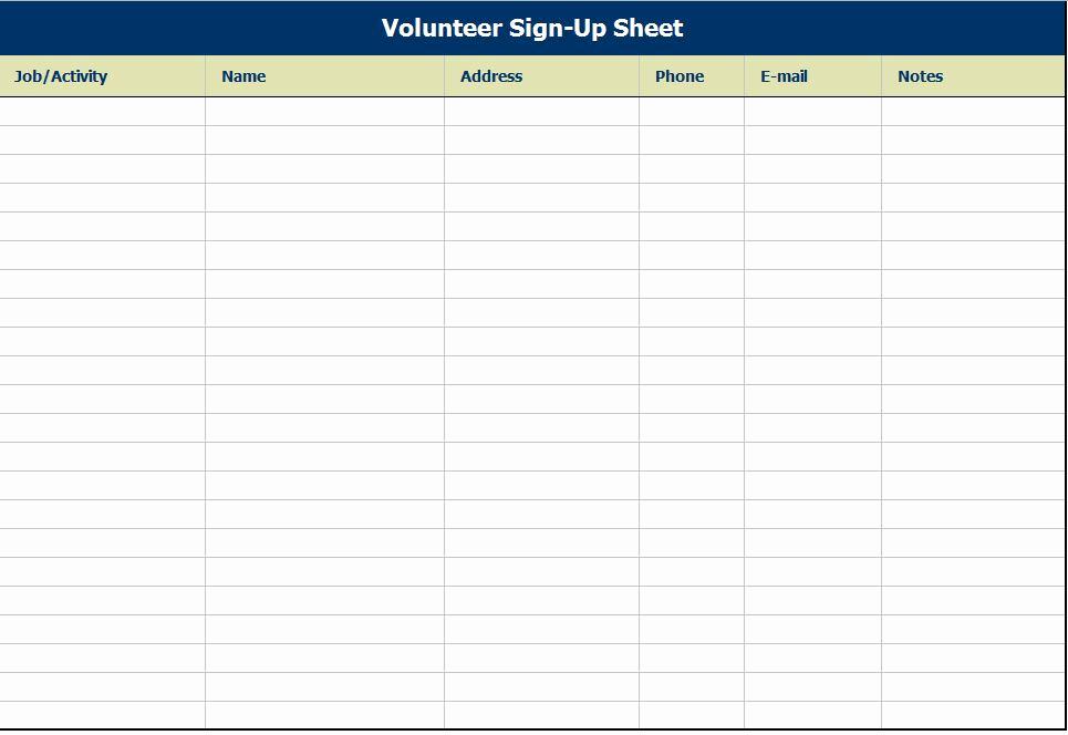 Volunteer Sign Up Sheet New Volunteer Sign Up Sheet
