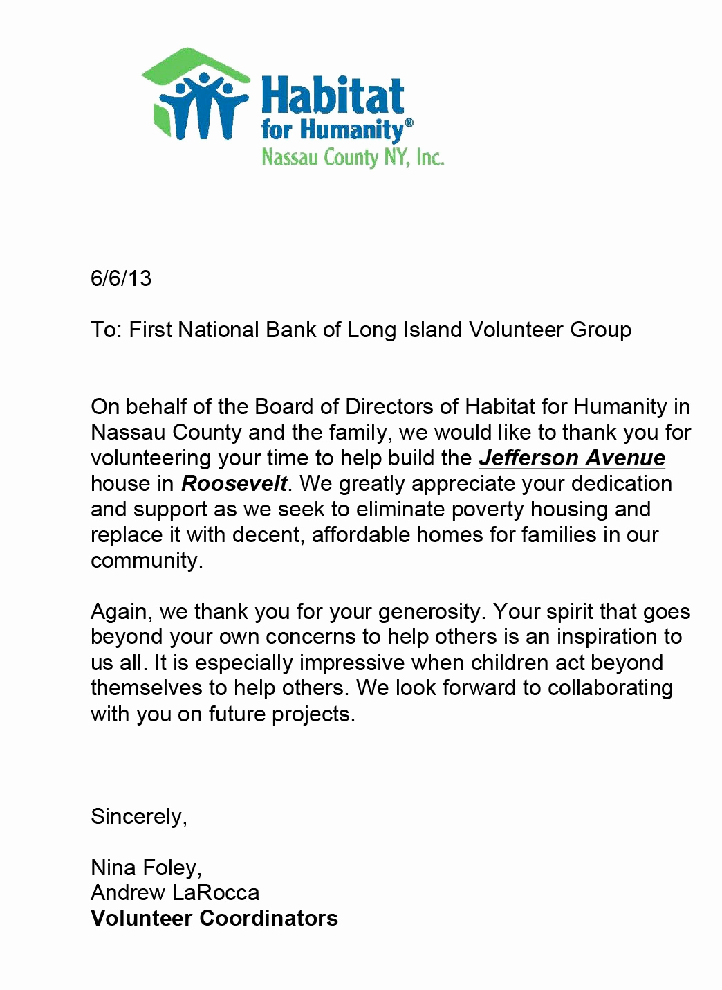 Volunteer Thank You Letter Beautiful the First National Bank Of Long island