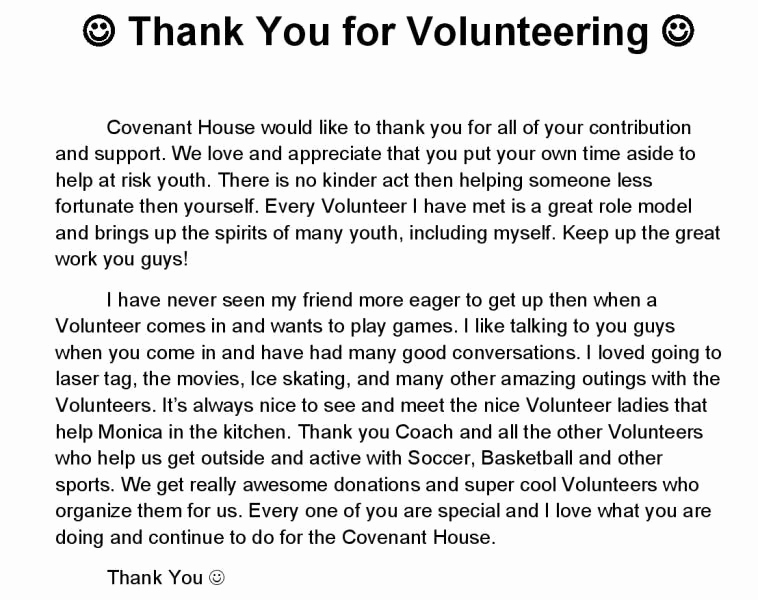 Volunteer Thank You Letter Best Of Our Stories We Love Our Volunteers