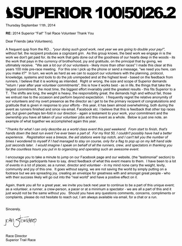 Volunteer Thank You Letter Elegant Thank You Letter to Volunteers – 2014