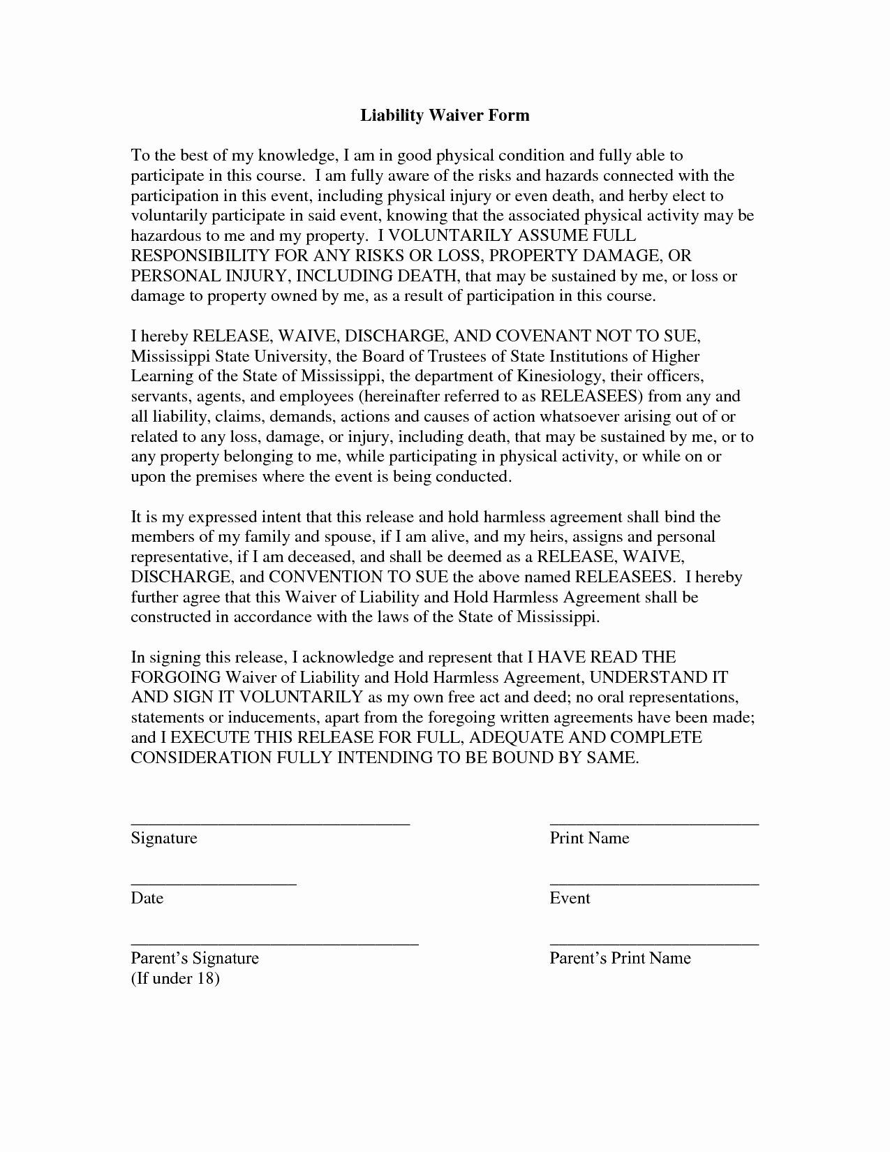 Waiver Of Liability form Awesome Free Printable Liability form form Generic
