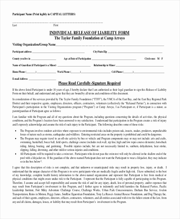 Waiver Of Liability form Awesome Sample Release Of Liability form 11 Free Documents In