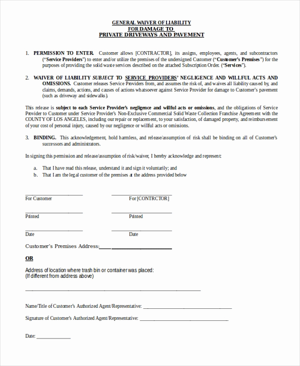 Waiver Of Liability form Beautiful Sample General Liability form 10 Free Documents In Word Pdf