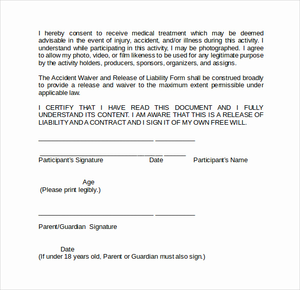 Waiver Of Liability form Best Of Sample Liability Waiver form 9 Download Free Documents