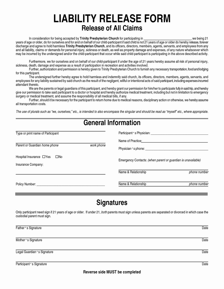 Waiver Of Liability form Elegant General Liability Waiver form