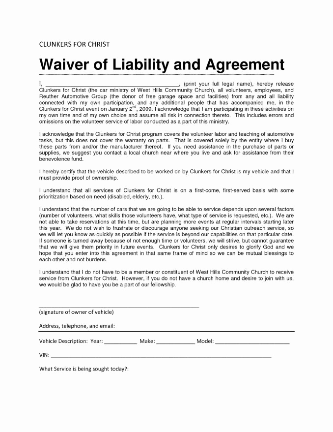 Waiver Of Liability form Fresh Liability Waiver form