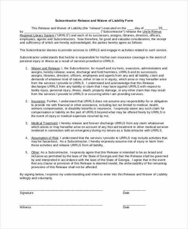 Waiver Of Liability form Fresh Sample Waiver Of Liability 8 Examples In Pdf Word