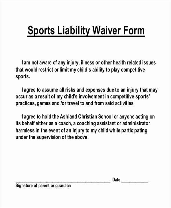 Waiver Of Liability form Lovely Sample Liability Waiver form 11 Free Documents In Pdf