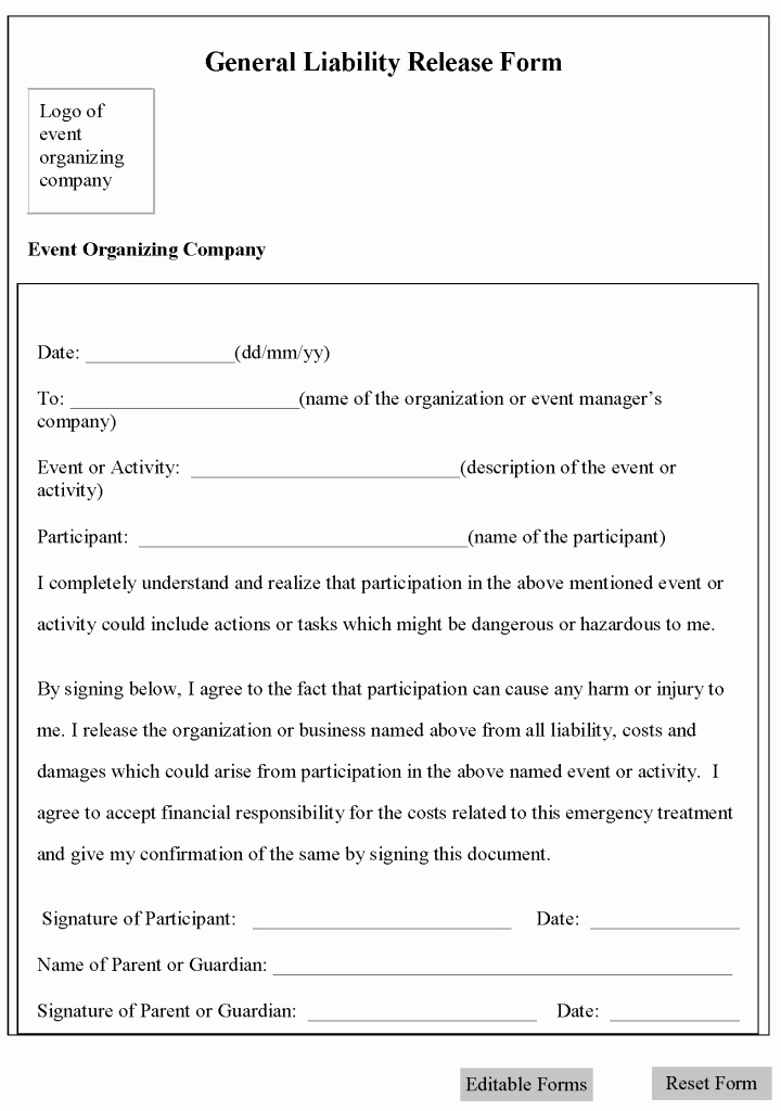 Waiver Of Liability form Luxury Printable Sample Release and Waiver Liability Agreement