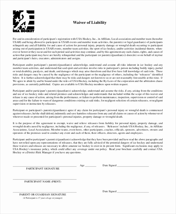 Waiver Of Liability form Luxury Sample Waiver Of Liability form 10 Free Documents In