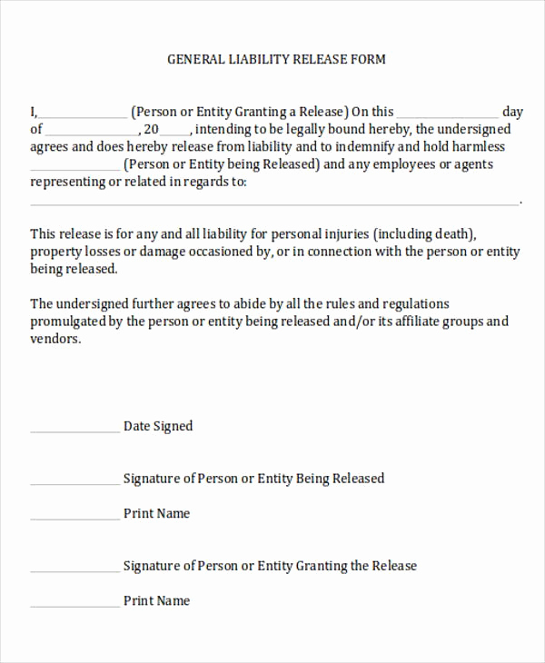 Waiver Of Liability form Unique General Release Of Liability form Sample 7 Examples In