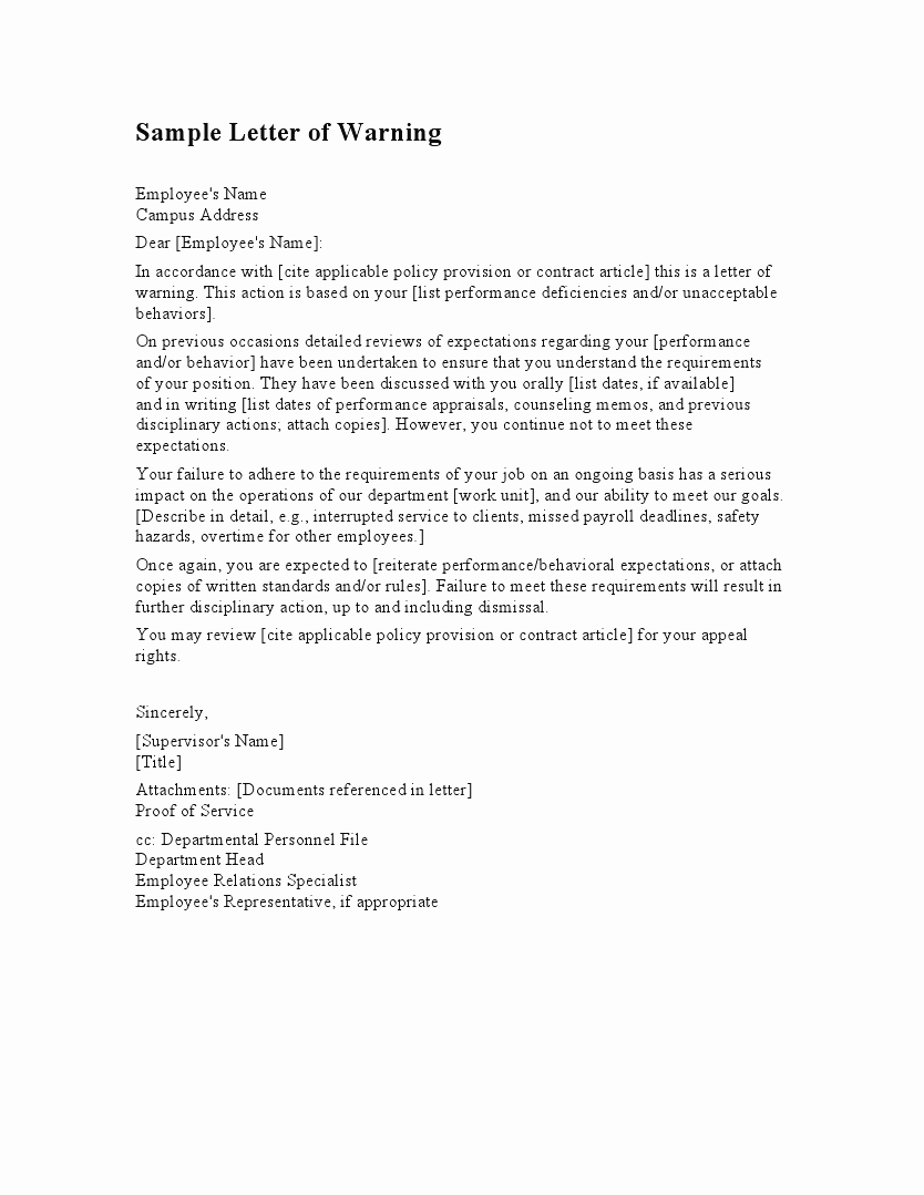 Warning Letter to Employee Best Of Employee Warning Letter Template