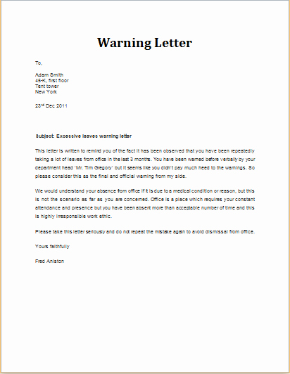 Warning Letter to Employee Fresh 7 Professional Warning Letter Templates