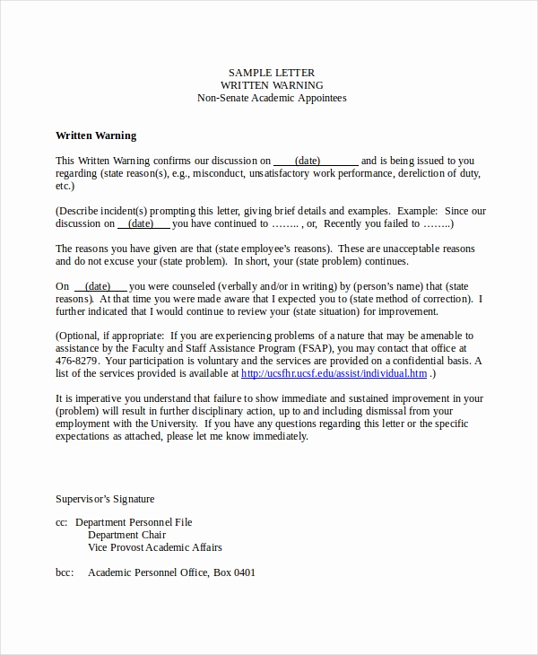 Warning Letter to Employee Fresh Warning Letter Template 9 Free Word Pdf Document