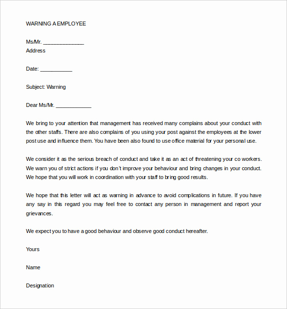 Warning Letter to Employee Luxury 33 Hr Warning Letters Free Sample Example format