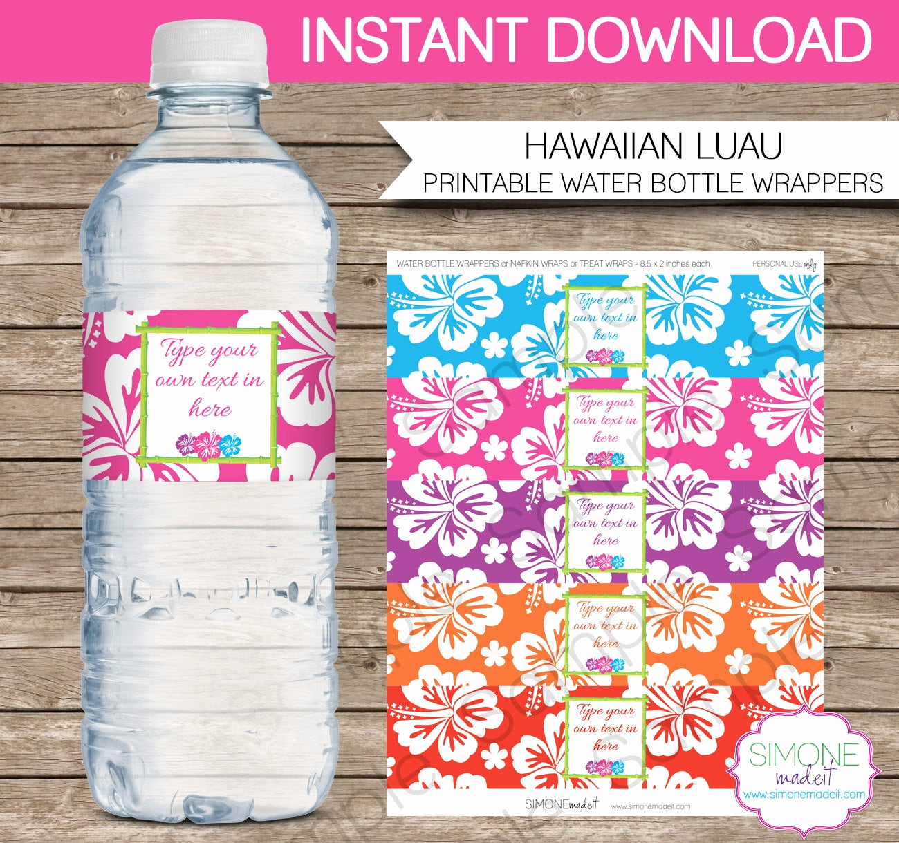 Water Bottle Labels Template Lovely Luau Party Water Bottle Labels or Wrappers Instant Download