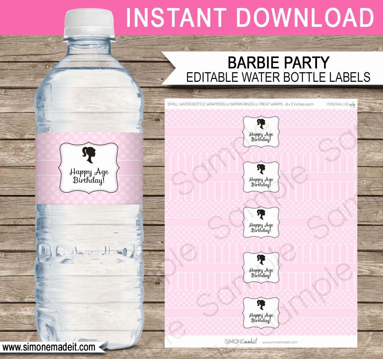 Water Bottle Labels Template Unique Barbie Party Water Bottle Labels