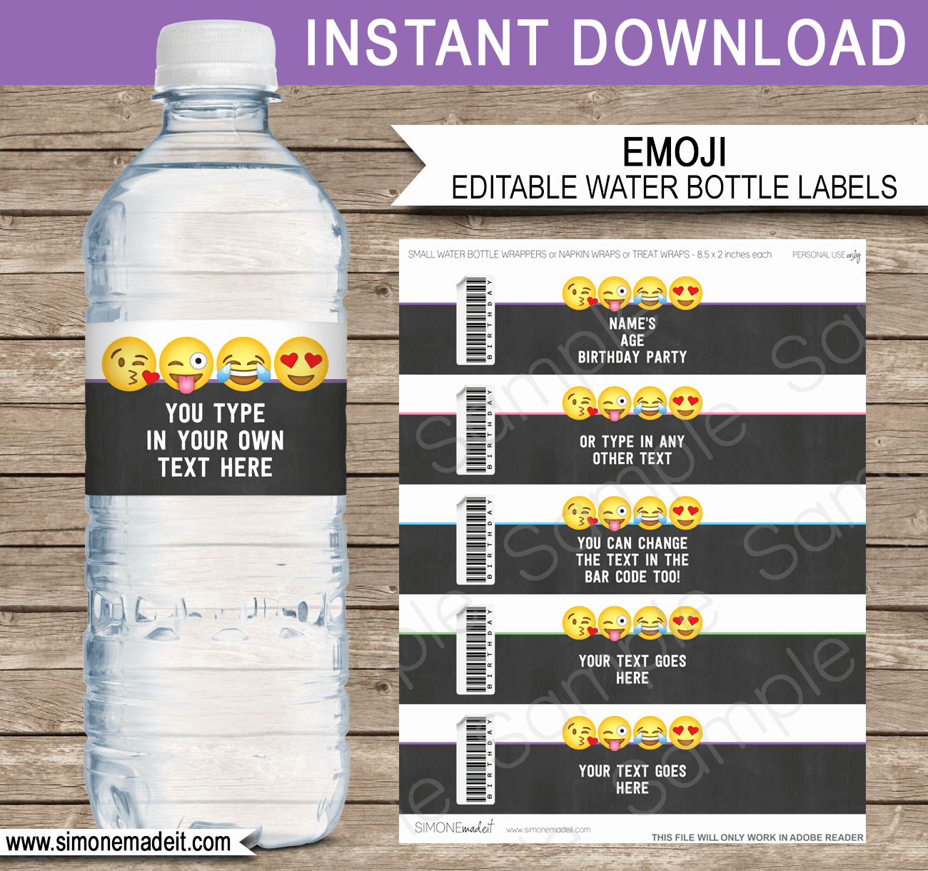 Water Bottle Labels Template Unique Emoji theme Birthday Party Printables