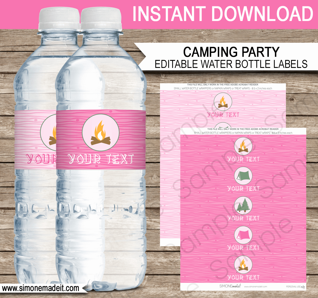 Water Bottle Labels Template Unique Pink Girl Camping Party Water Bottle Labels