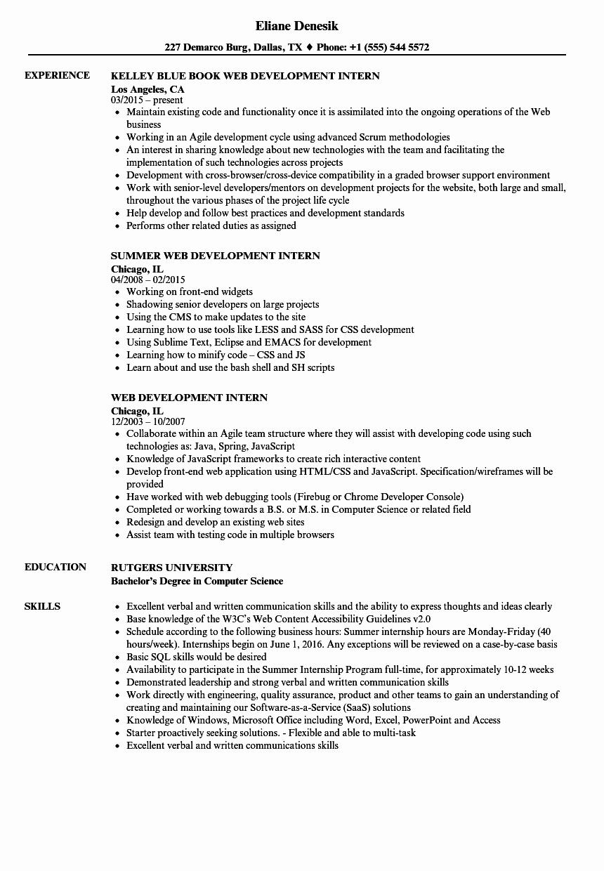 Web Developer Resume Sample Awesome Web Development Intern Resume Samples