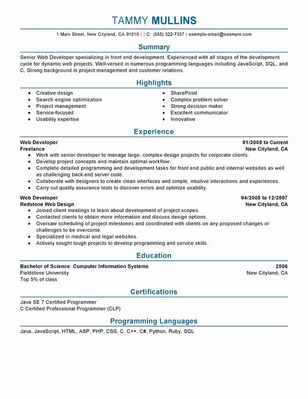 Web Developer Resume Sample Best Of Web Developer Resume Examples Created by Pros