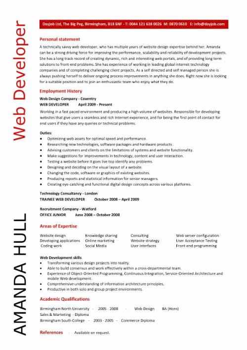 Web Developer Resume Sample Inspirational Web Design Resume Sample
